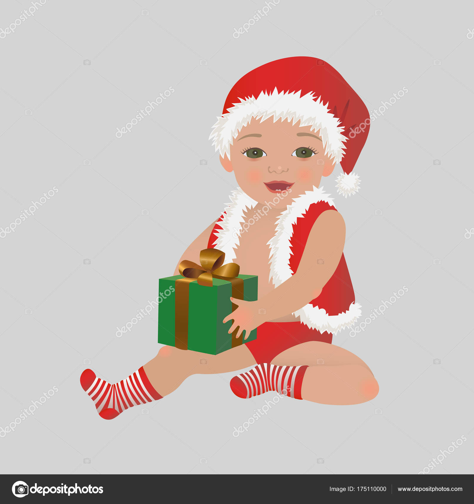 Christmas baby with gift box. Cute happy Xmas child holding present ...
