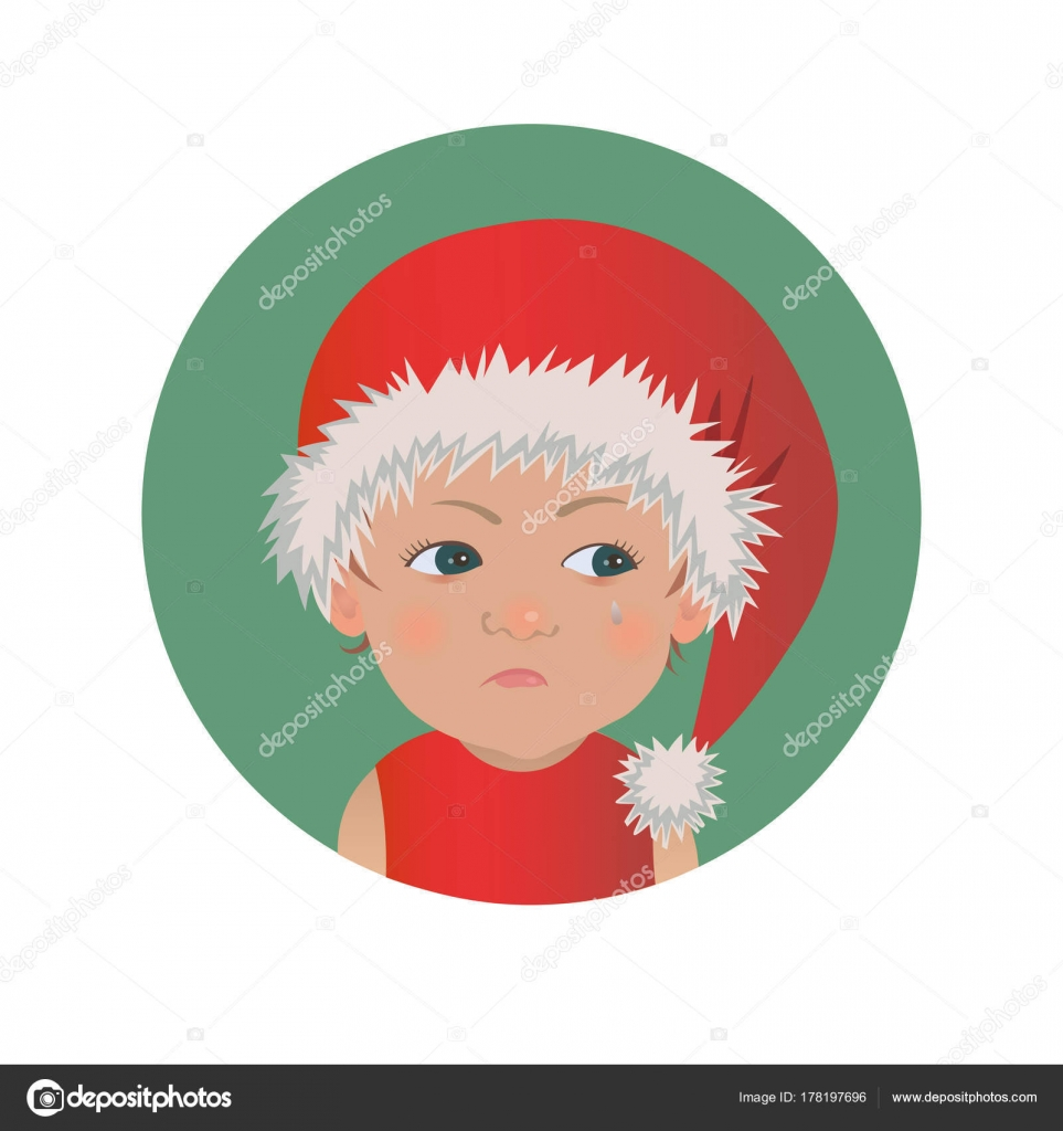 e75eef13374 Cute resentful baby Santa Claus emoticon. Christmas upset child emoji. Santa  hat offended kid avatar isolated vector illustration — Vector by ...