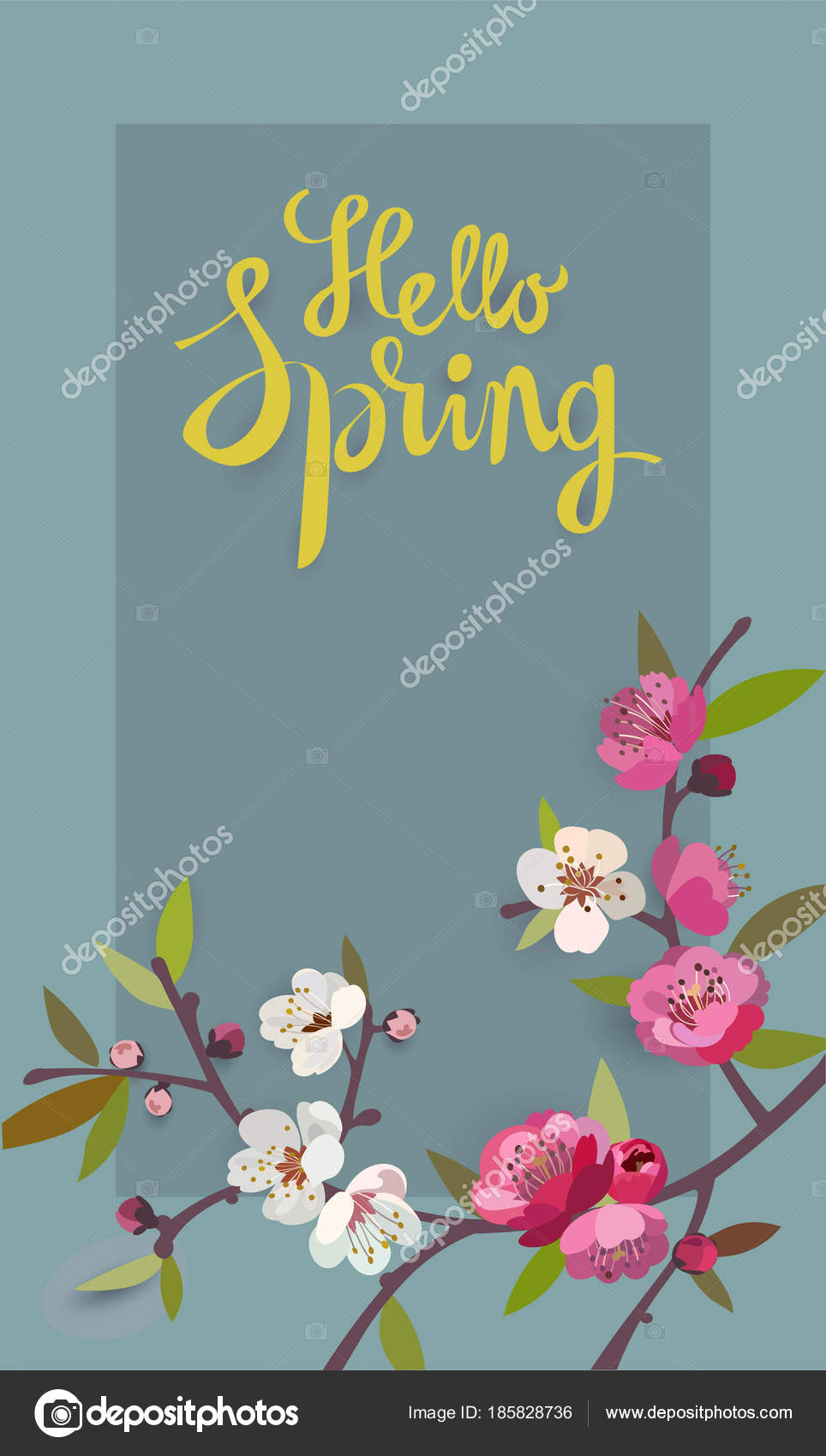 Hello Spring Card For Spring Season With A Frame And A Blooming