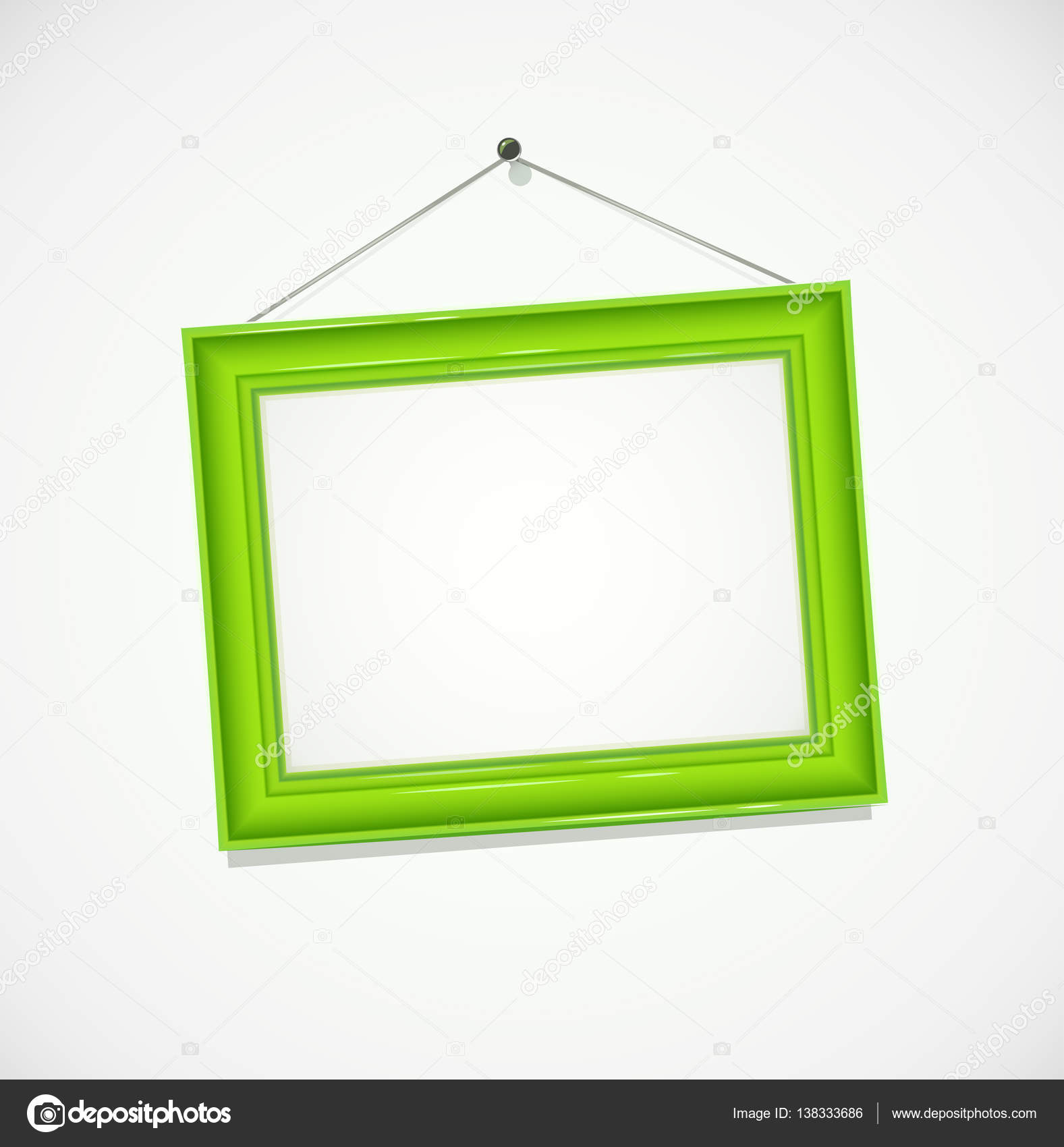 Grüner Rahmen für Fotografie hängen an der Wand — Stockvektor ...