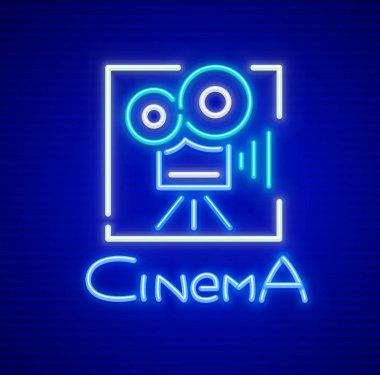 Neon sign for cinema with retro camera