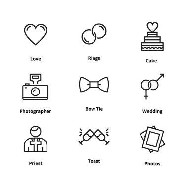 9 wedding line icons