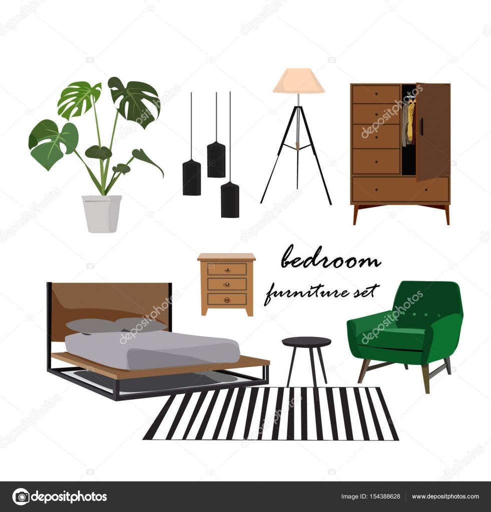 Schlafzimmer Moodboard für Interior design — Stockvektor © joanna ...