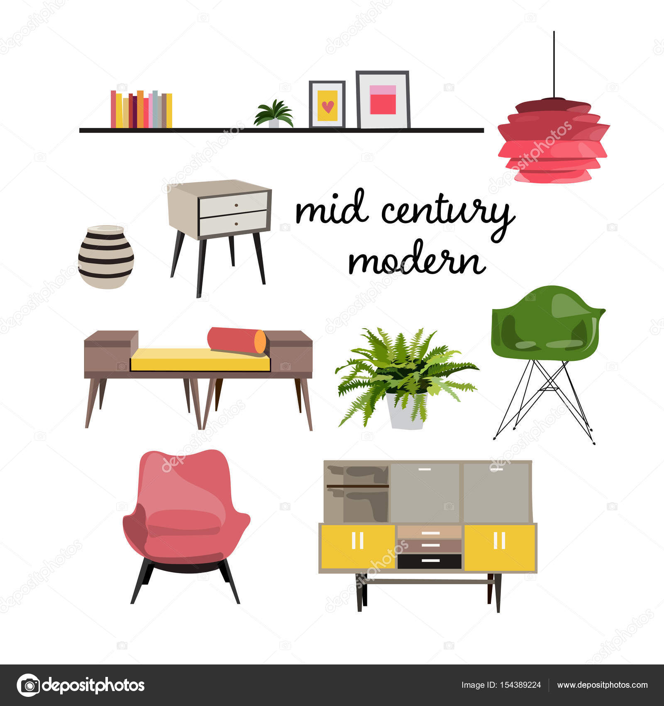Mid Century Modern Furniture Stock Vector C Joanna Rosado