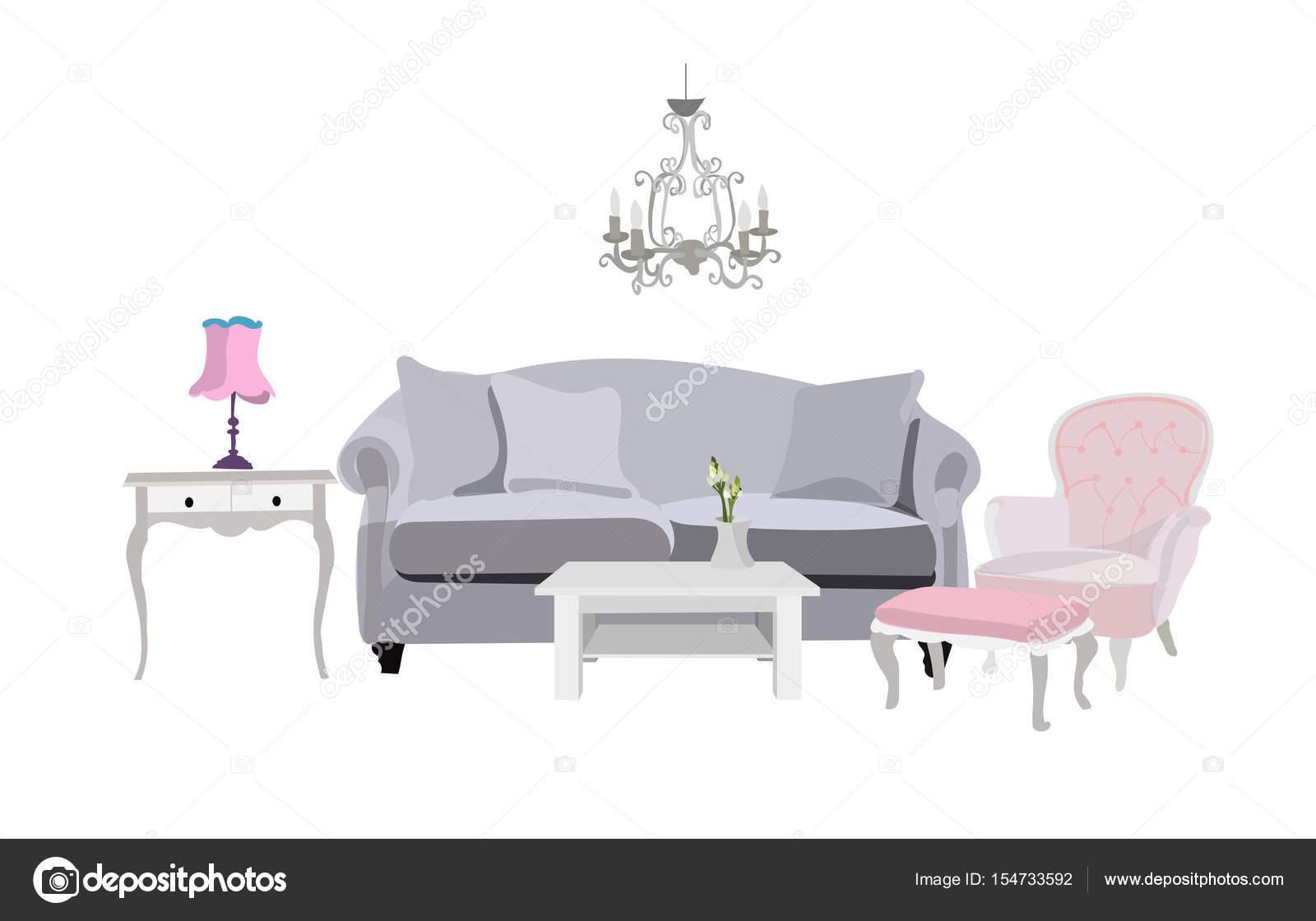 Wohnzimmer Möbel Vektorgrafik — Stockvektor © joanna.rosado@gmail ...