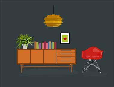 vector living room furniture illustration