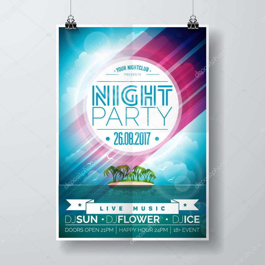 Vector Summer Night Party Flyer Design with paradise island on ocean landscape background.