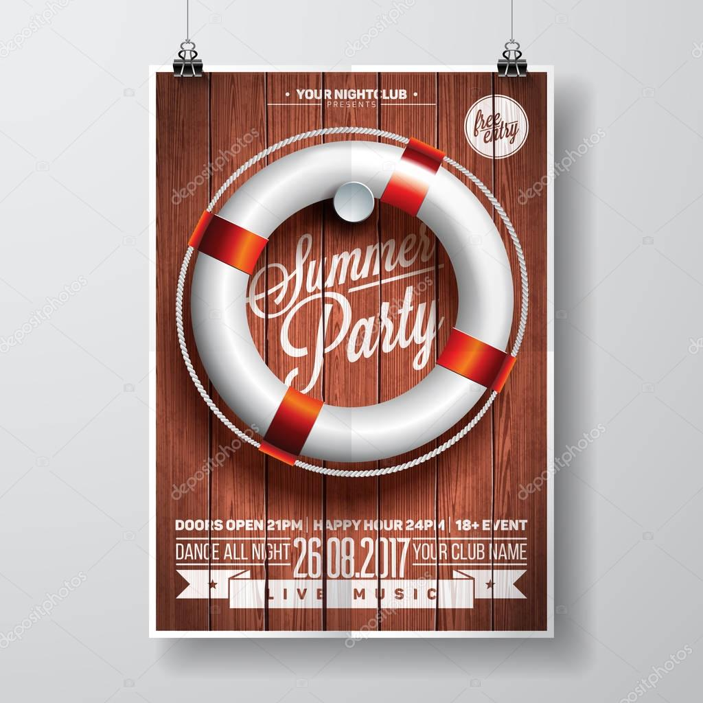 Vector Summer Beach Party Flyer Design with typographic elements and life buoy on wood texture background.