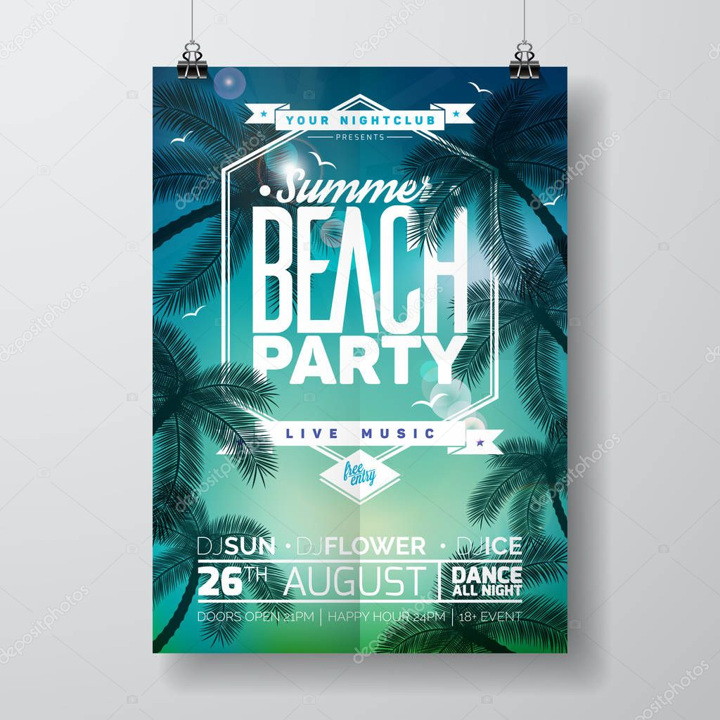 Vector Summer Beach Party Flyer Design with typographic design on nature background with palm trees.