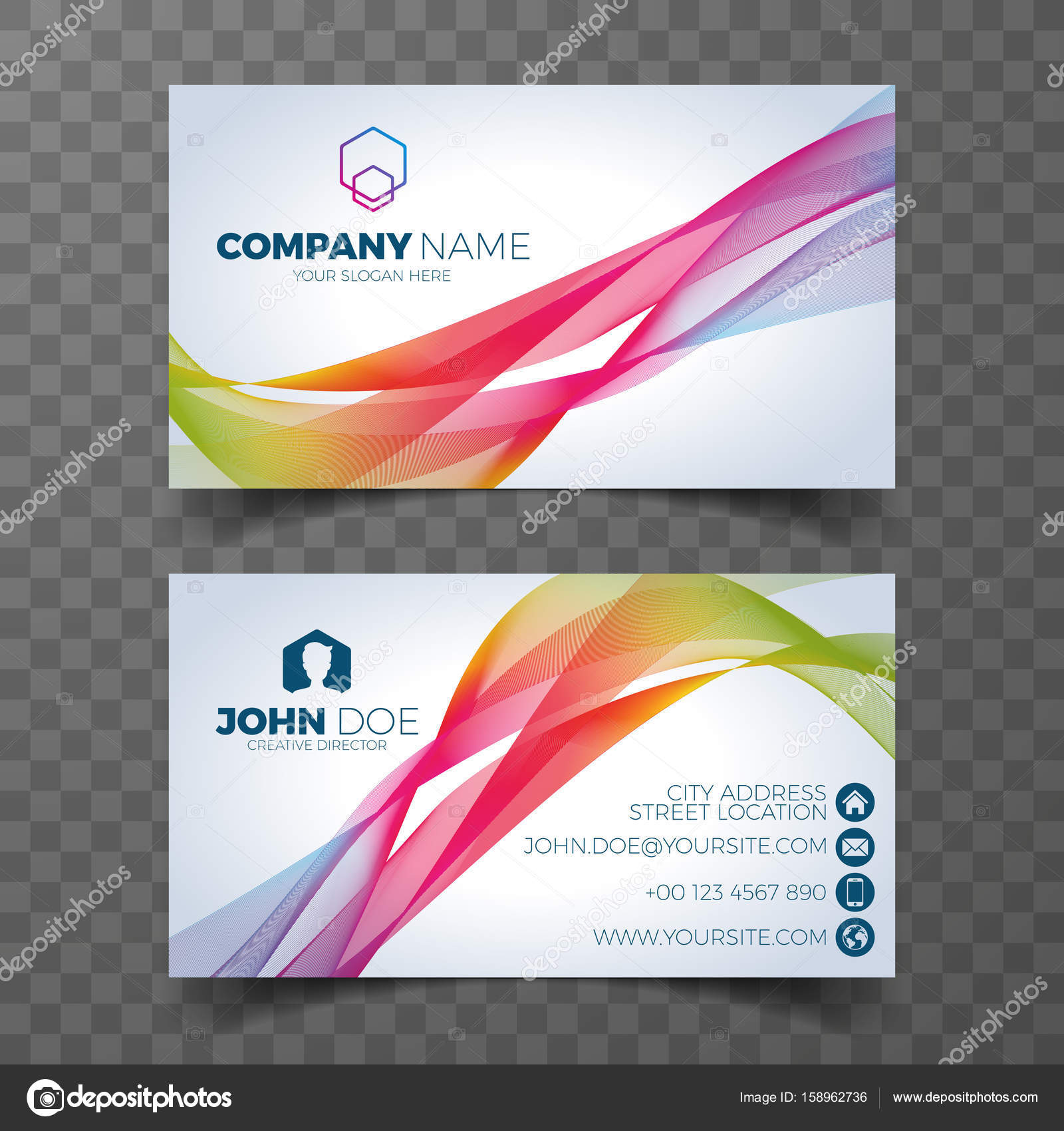Vector modern business card design template on clean background ...