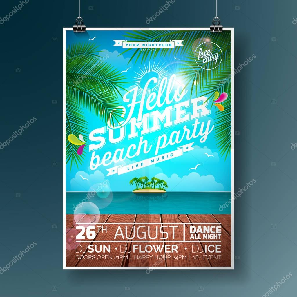Vector Summer Beach Party Flyer Design with typographic elements and palm tree on ocean landscape background.