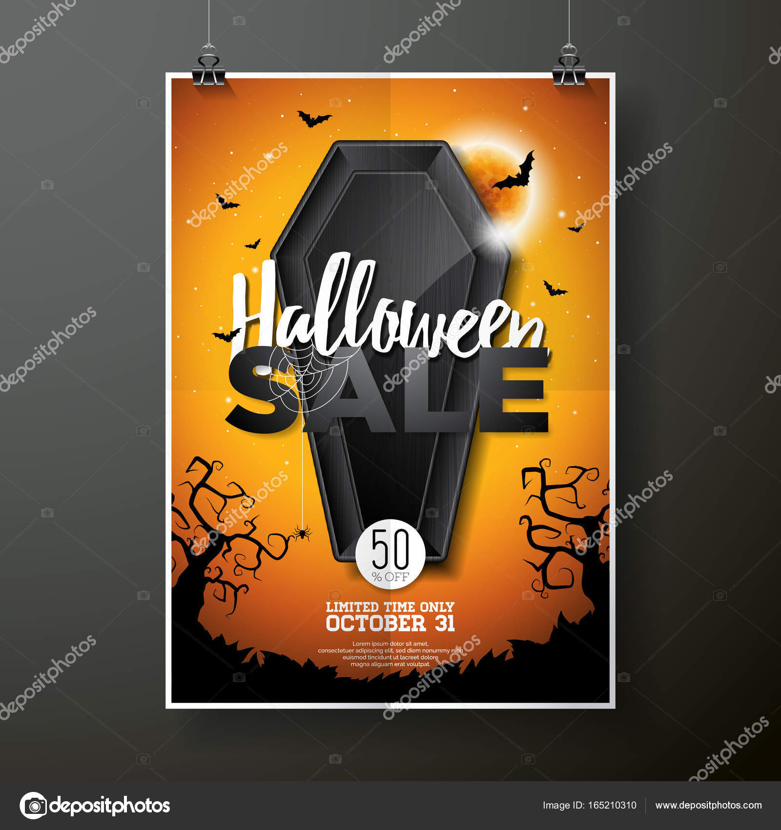 halloween sale vector illustration with coffin and holiday elements on orange background design for offer