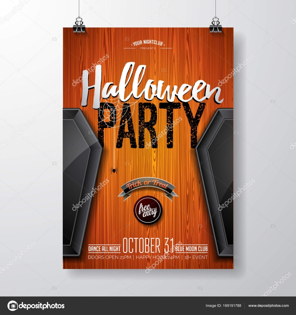 Halloween Party flyer vector illustration with black coffin on