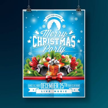 Vector Merry Christmas Party Flyer Illustration with Typography and Holiday Elements on Blue background. Invitation Poster Template.