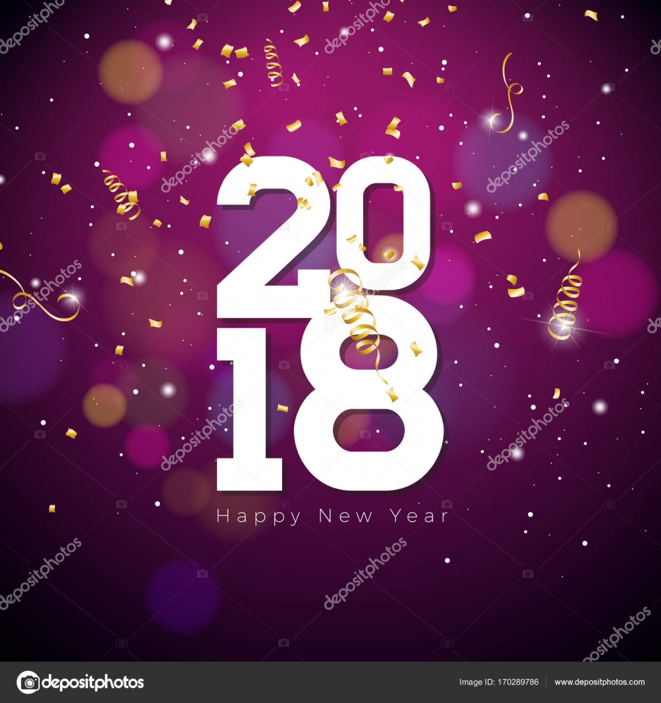 vector happy new year 2018 illustration on shiny lighting blue background with typography stock