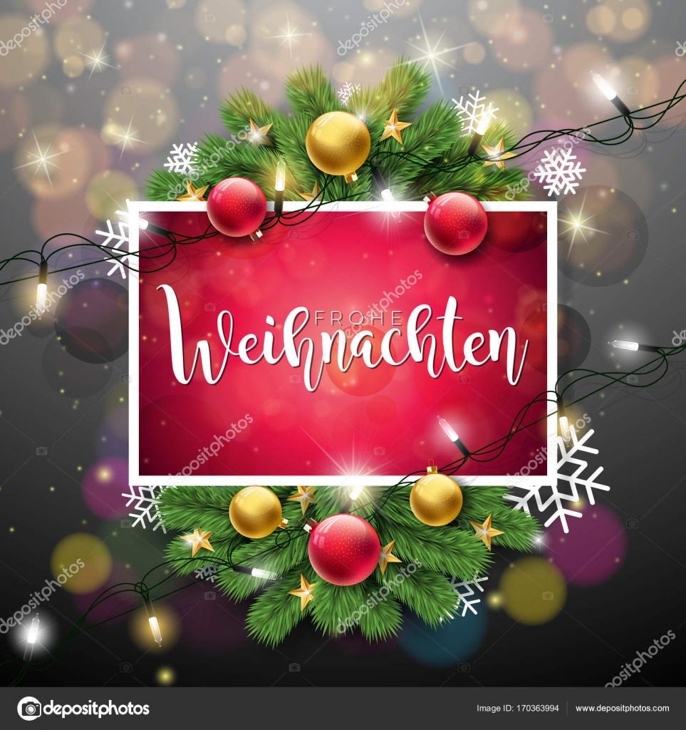 Frohe Weihnachten Download.Vector Christmas Illustration With German Frohe Weihnachten