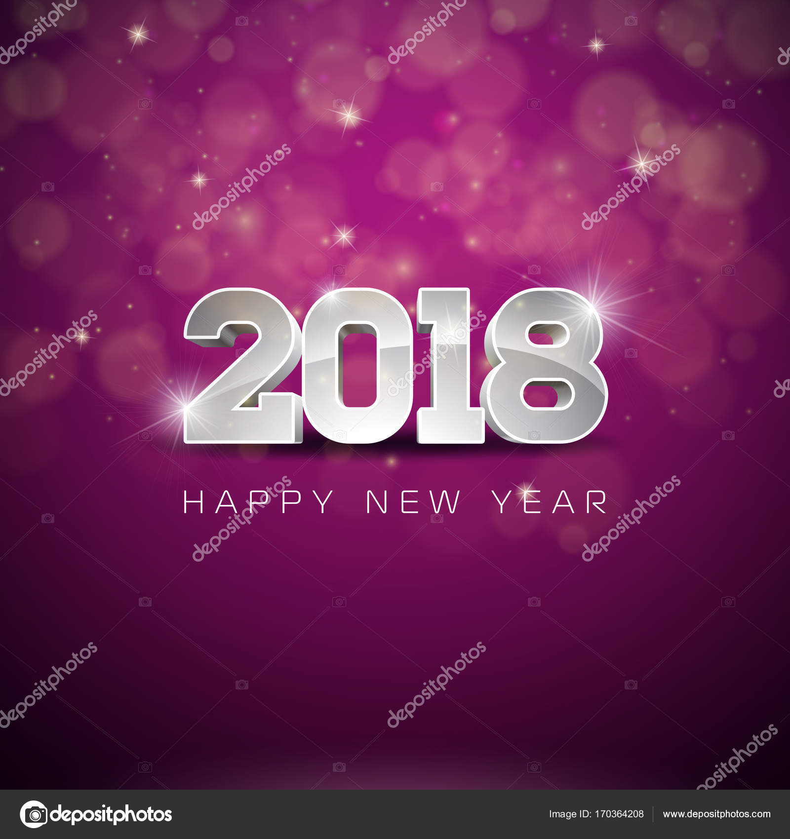 vector happy new year 2018 illustration on shiny lighting background with typography design stock
