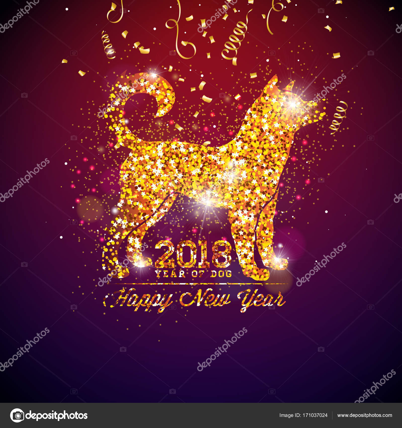2018 chinese new year illustration with bright symbol on shiny celebration background year of the dog vector design vector by _articular_