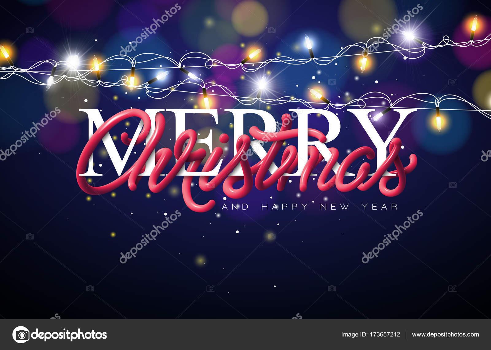 Frohe Weihnachten Schriftzug Beleuchtet.Frohe Weihnachten Illustration Mit Ineinander Verschlungenen Röhre