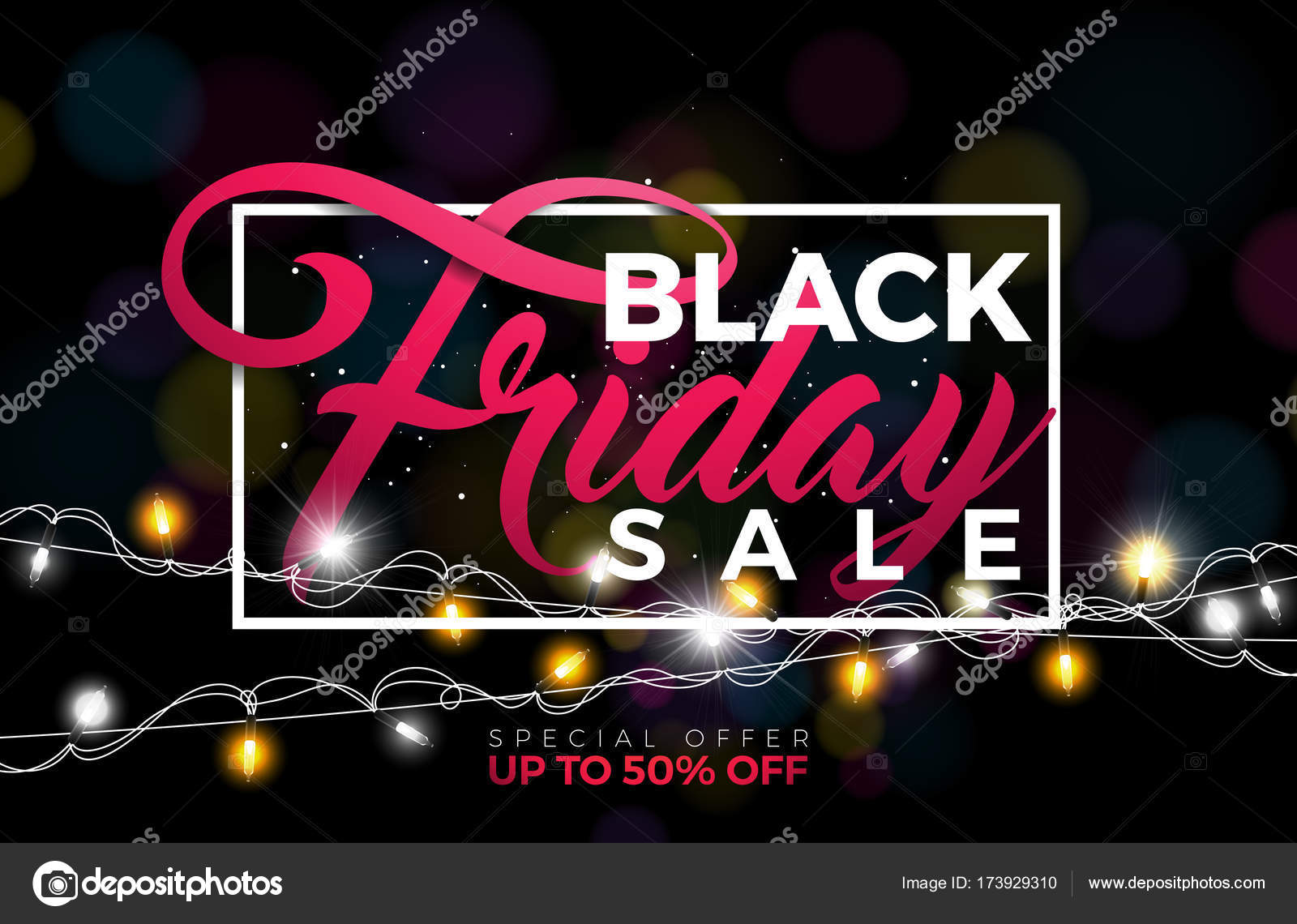 Black Friday verkoop vectorillustratie met verlichting van Garland ...