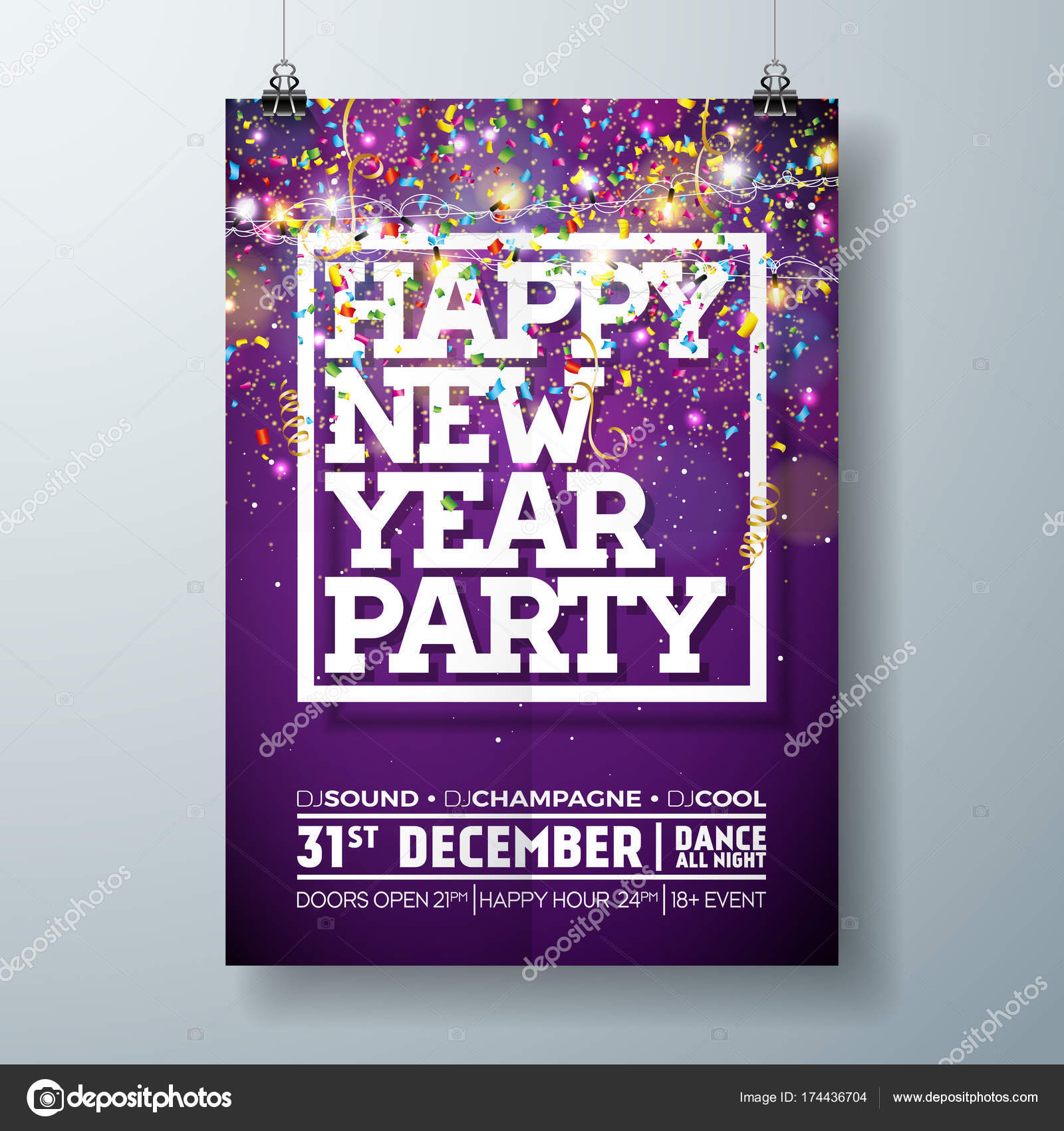 new year party celebration poster template illustration with typography design and falling confetti on shiny colorful