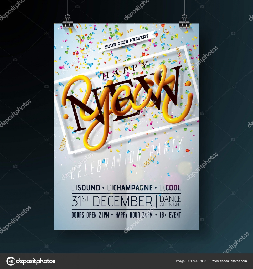 happy new year party celebration flyer template illustration with typography design and falling confetti on shiny