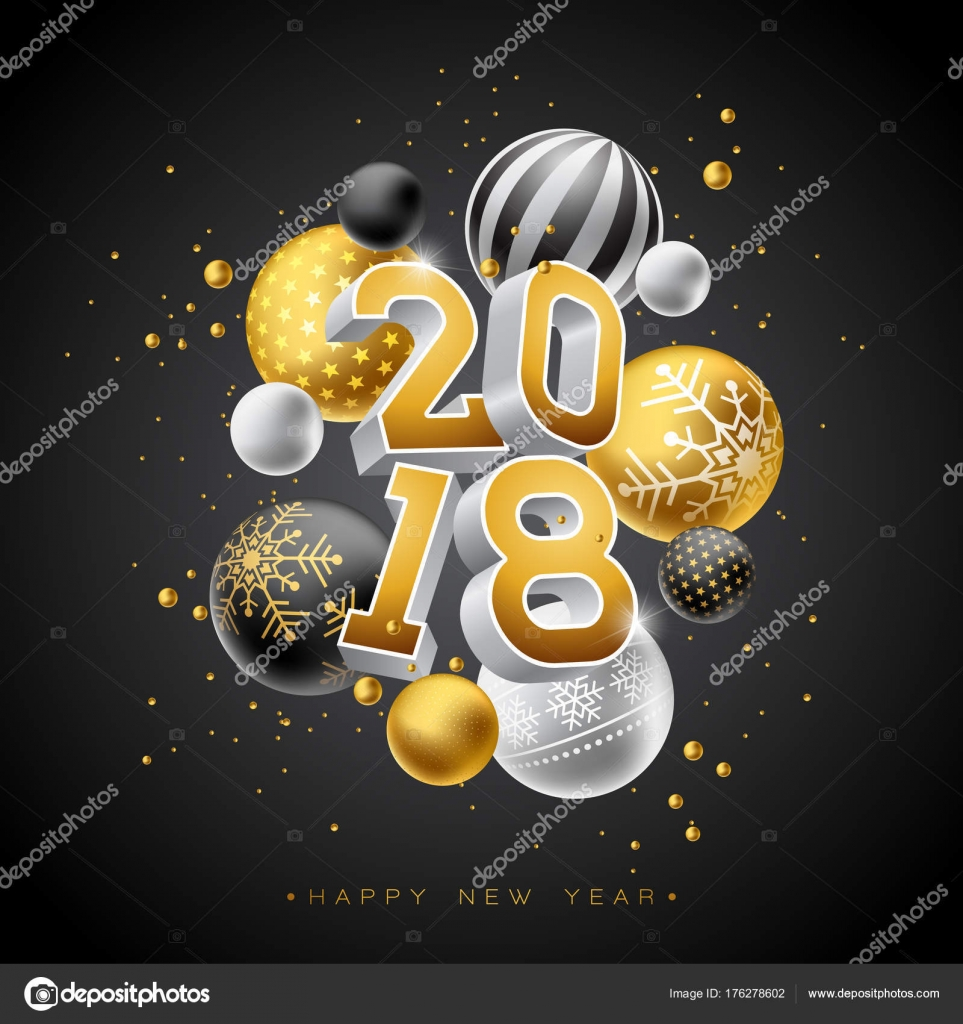 happy new year 2018 illustration with gold 3d number and ornamental ball on black background vector holiday design for premium greeting card party