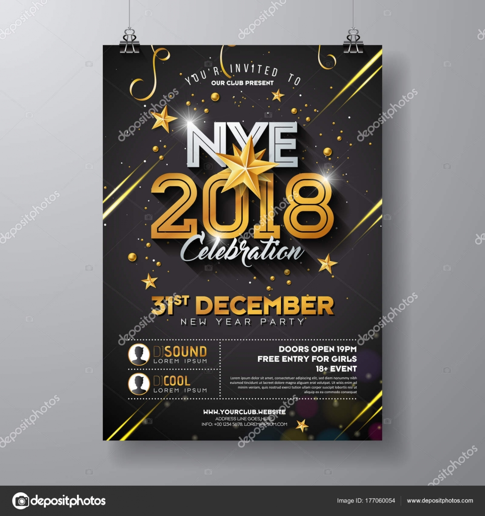 2018 new year party celebration poster template illustration with vector holiday premium invitation flyer or promo banner vector by articular stopboris Images
