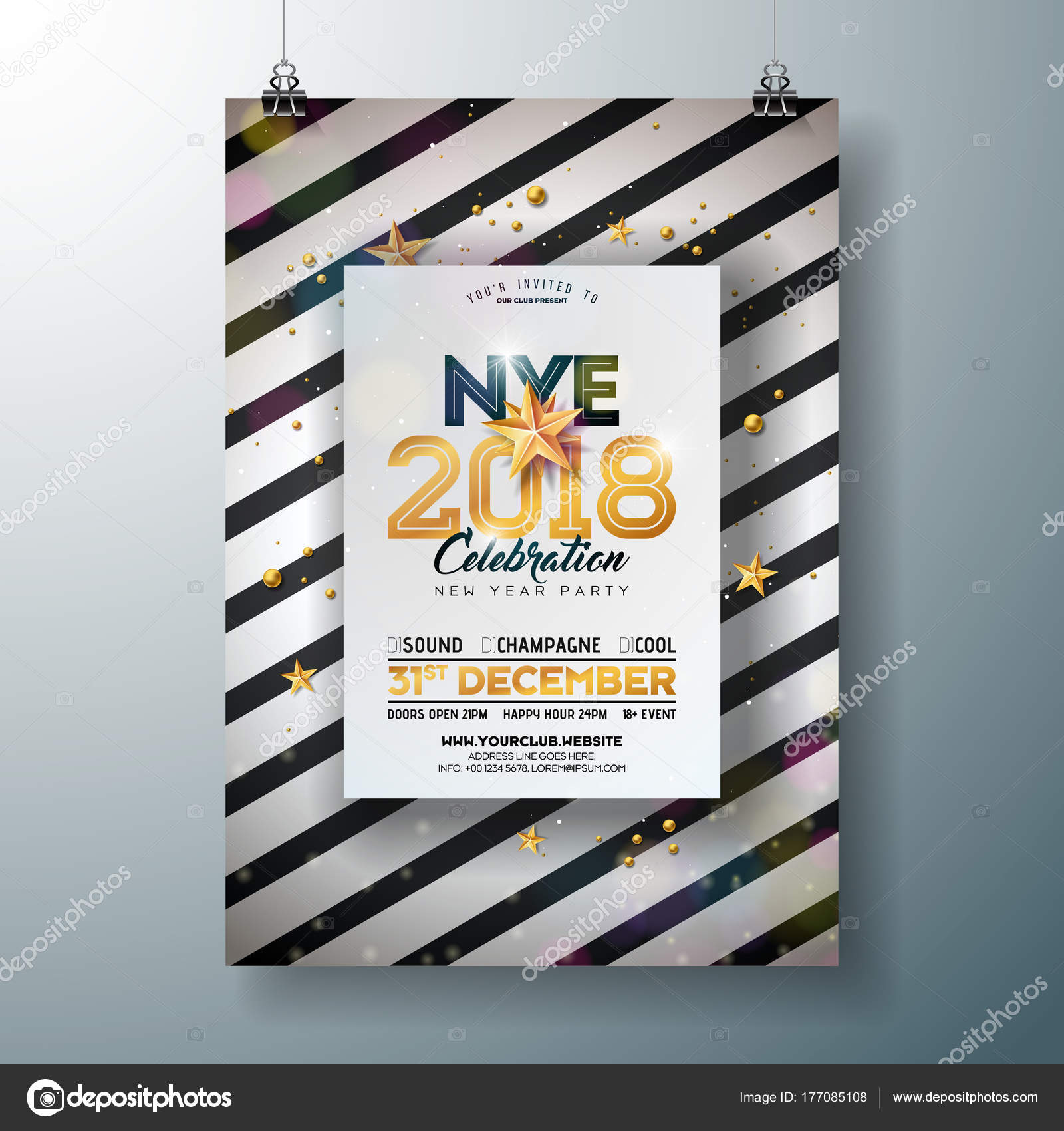 2018 New Year Party Celebration Poster Template Illustration With Shiny  Gold Number On Abstract Black And White Background.