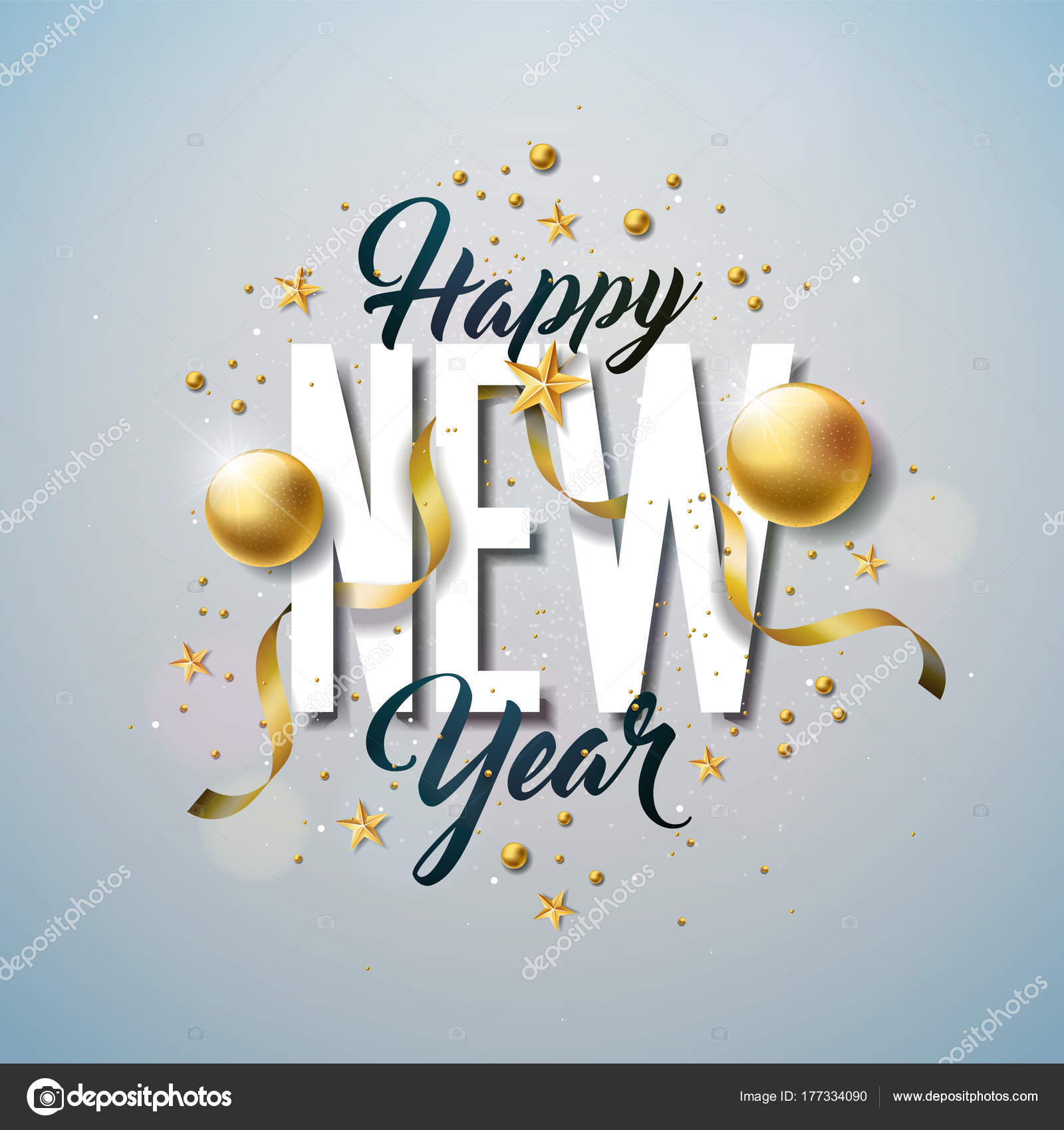happy new year illustration with typography letter and ornamental ball on white background vector holiday