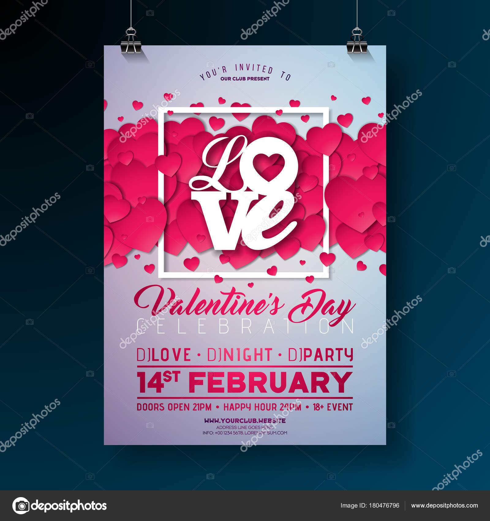 Vektor Valentinstag Party Flyer Design mit Typografie Liebesbrief ...