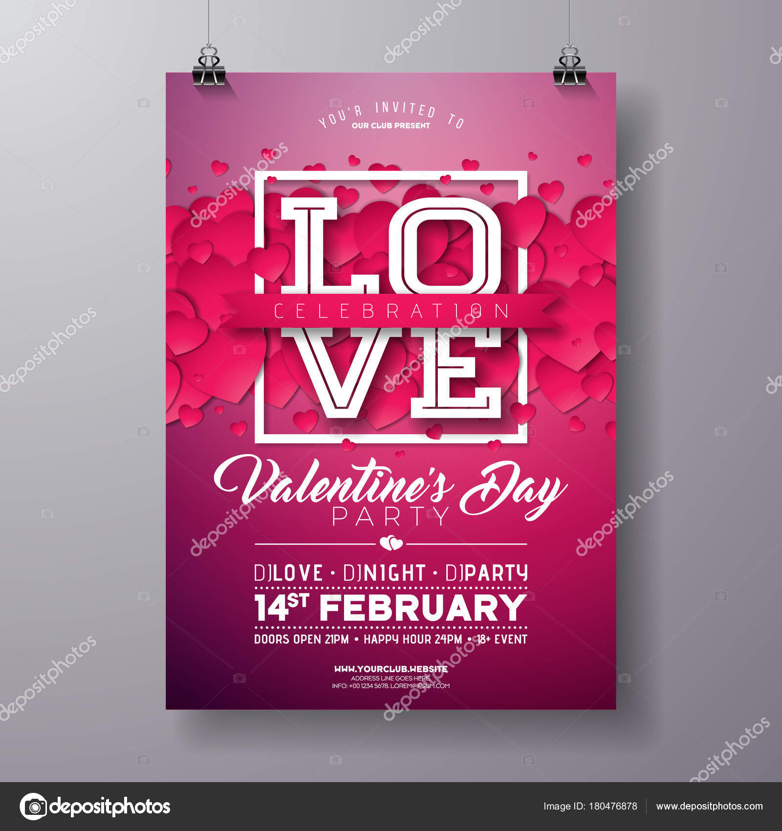 vector valentines day party flyer design with love typography letter