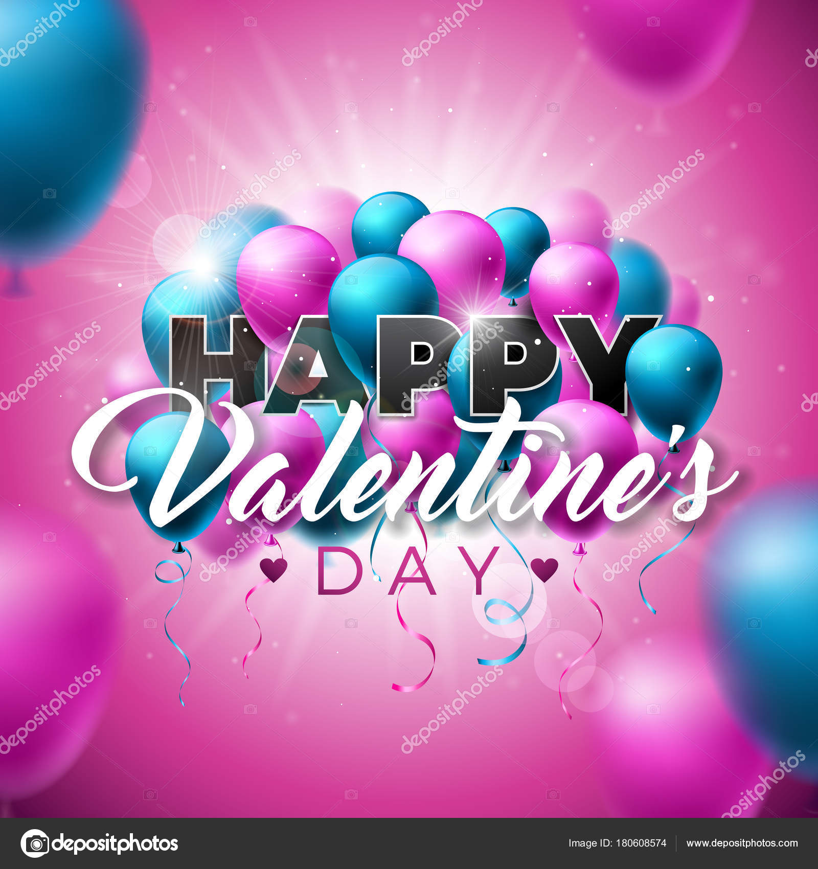 Happy Valentines Day Design with Color Balloon on Shiny Pink ...