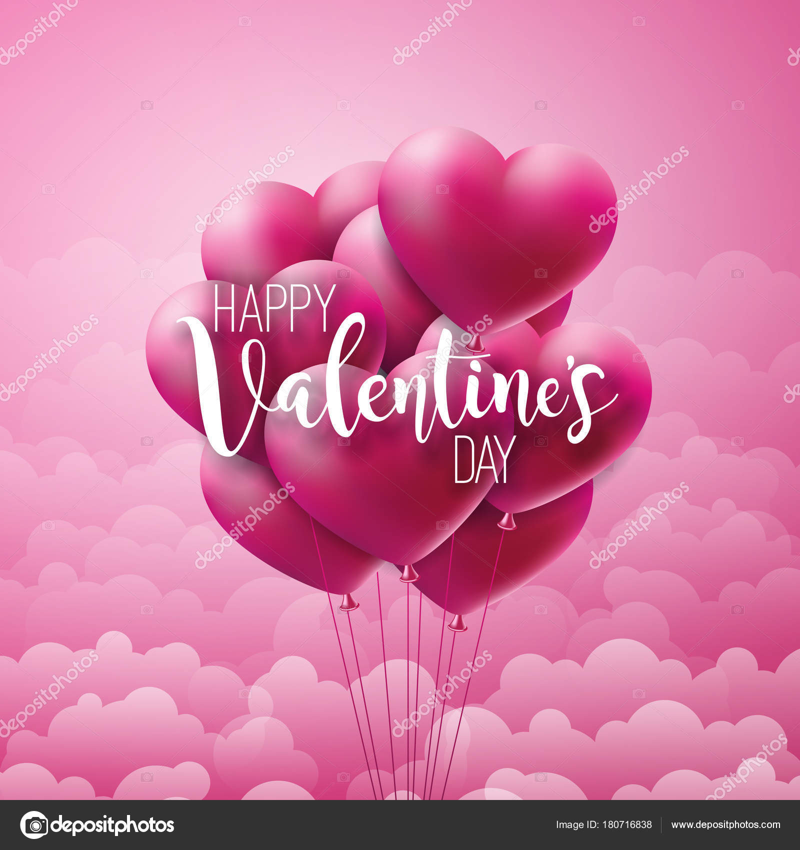 Happy valentines day design with red balloon heart and typography happy valentines day design with red balloon heart and typography letter on pink cloud background stopboris Image collections