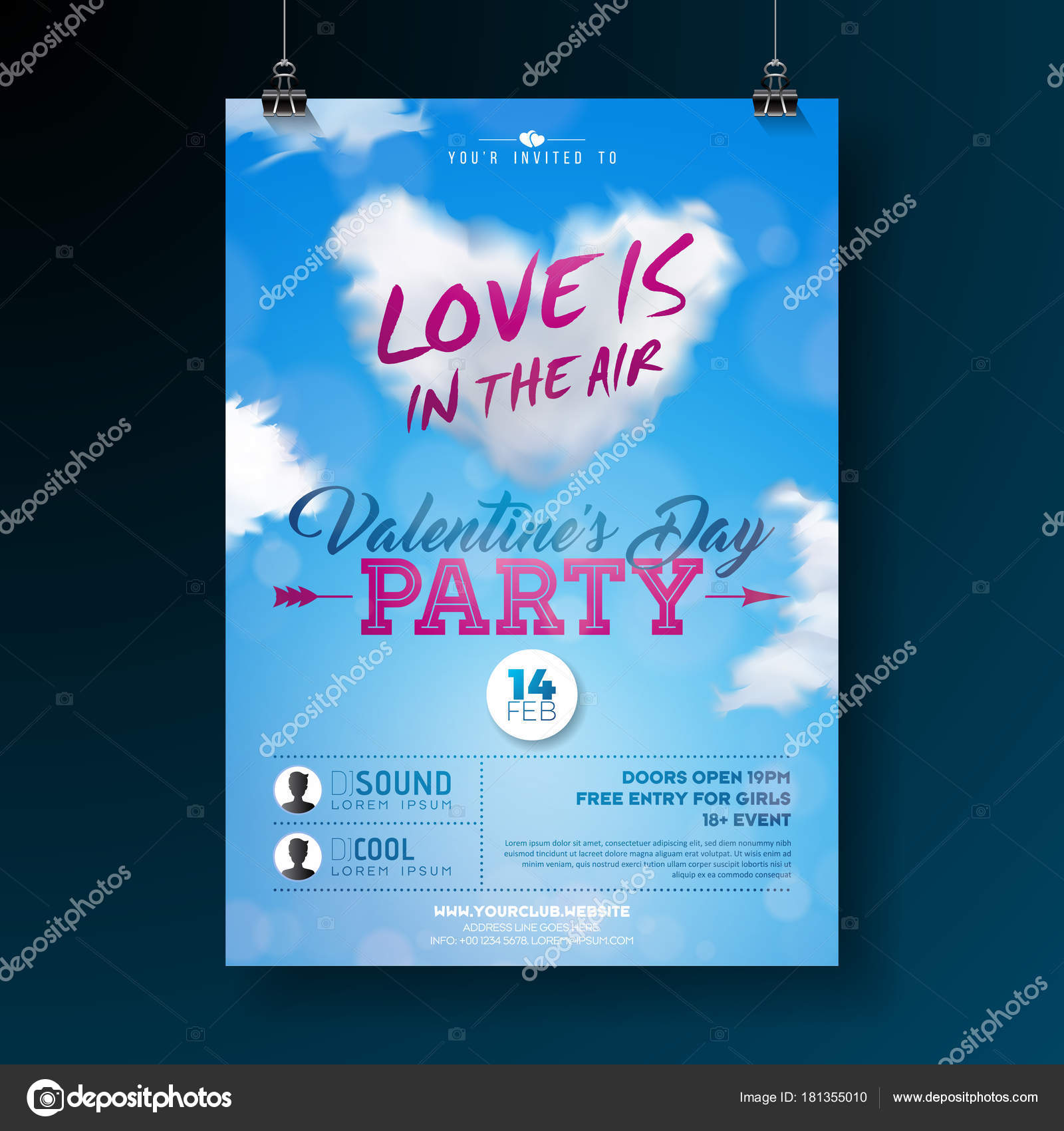 Valentines Day Party Flyer Design With Typography And Cloud Heart On Blue Background Vector Love Is In The Air Celebration Poster Template For Invitation