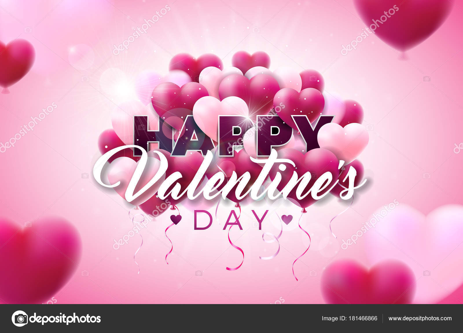 Valentines day illustration with heart balloon and typography valentines day illustration with heart balloon and typography letter on shiny pink background vector wedding stopboris Image collections