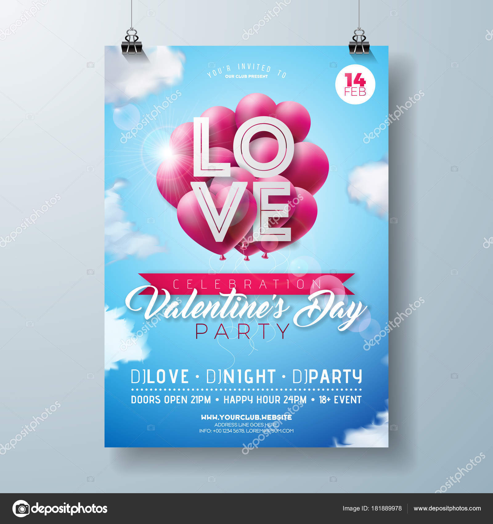 valentines day party flyer design with love typography letter and heart balloon on cloud sky background vector holiday celebration poster template for