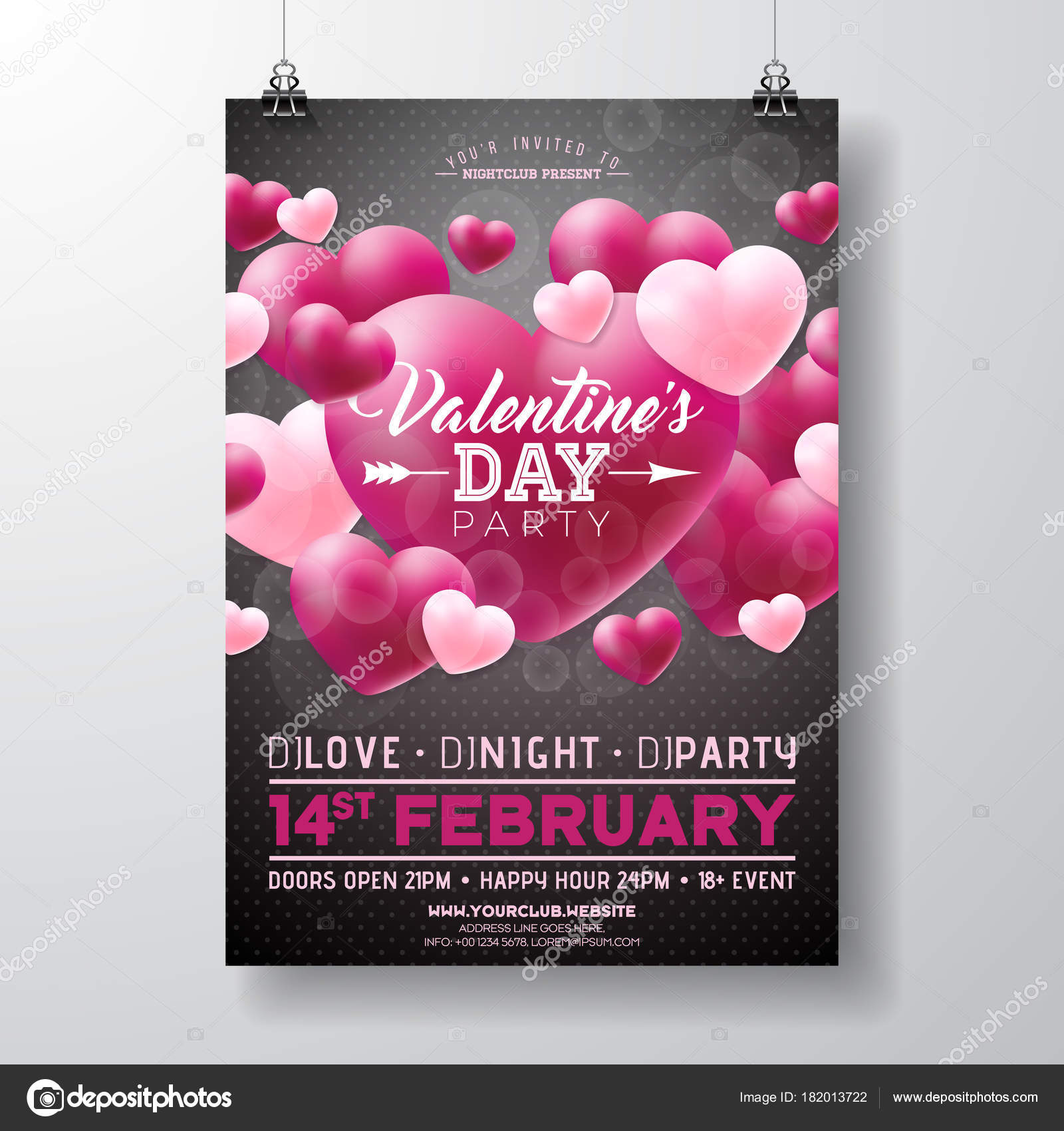 Vektor Valentinstag Party Flyer Design Mit Liebe Sie Typografie