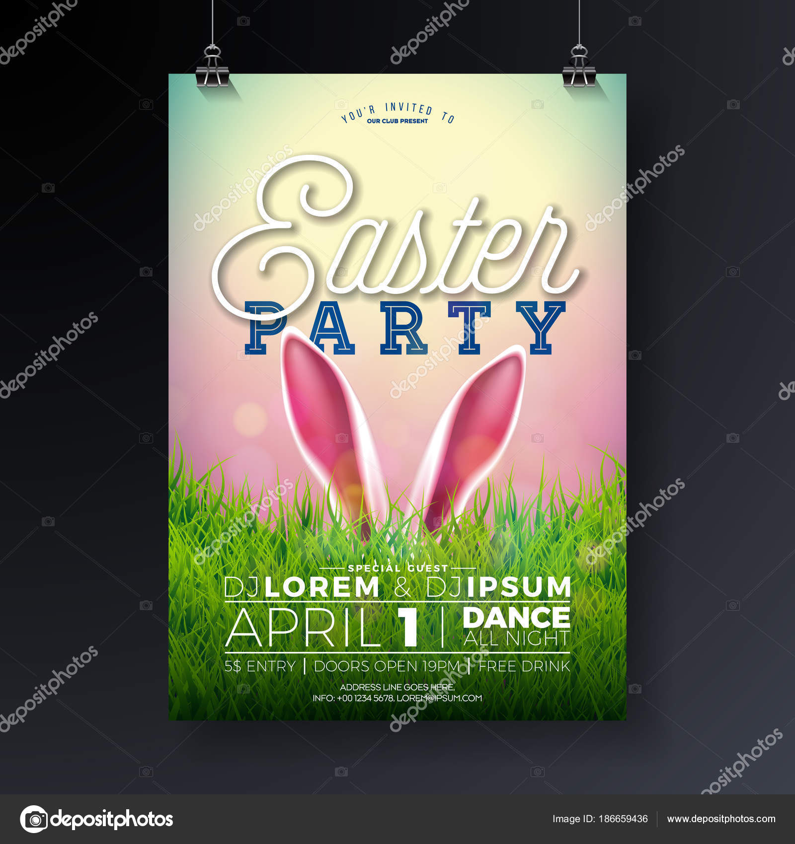 Vector Easter Party Flyer Illustration With Rabbit Ears And Typography Elements On Nature Green Grass Background Spring Holiday Celebration Poster Design