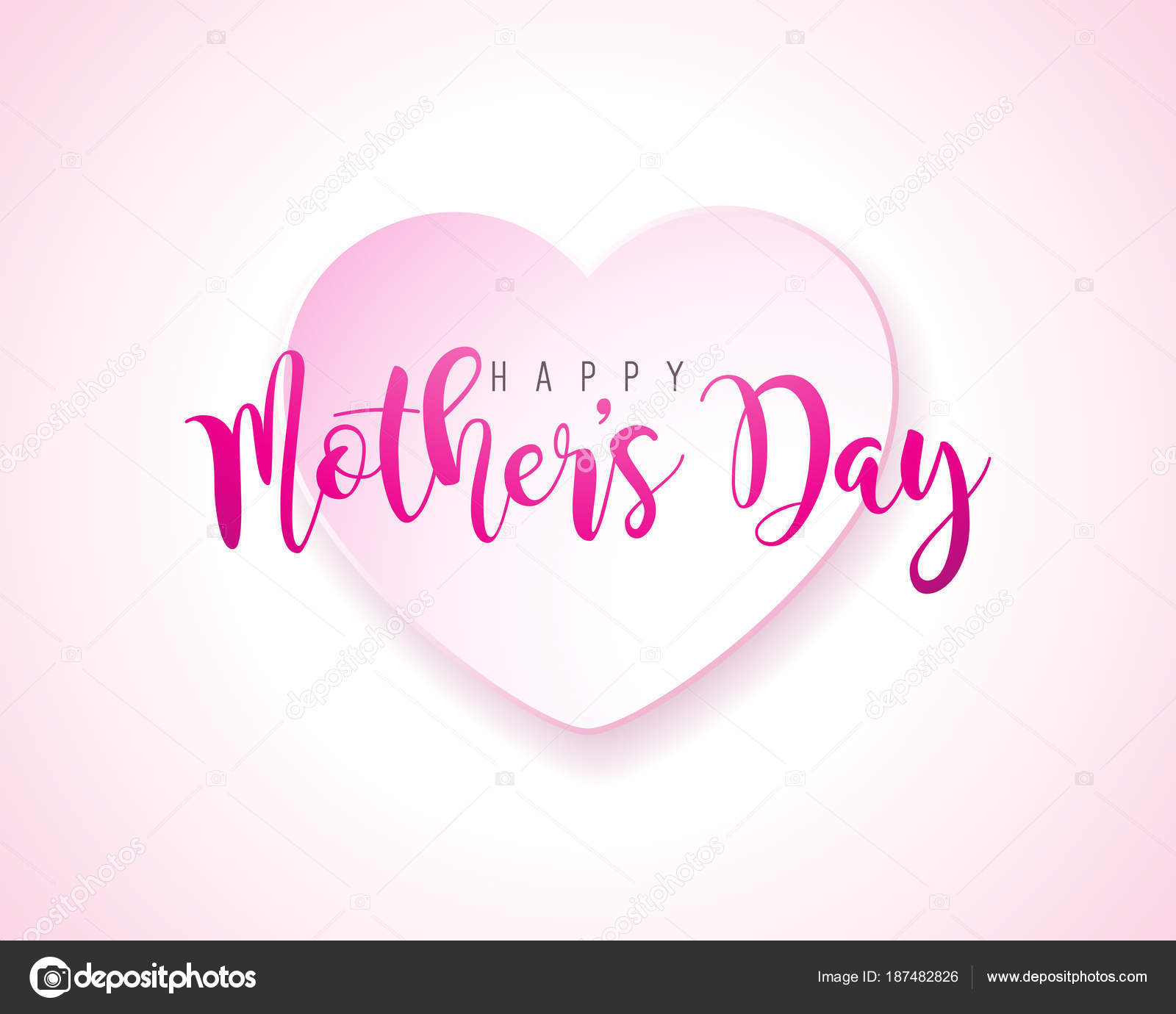 Happy Mothers Day Greeting card with hearth on pink background ...