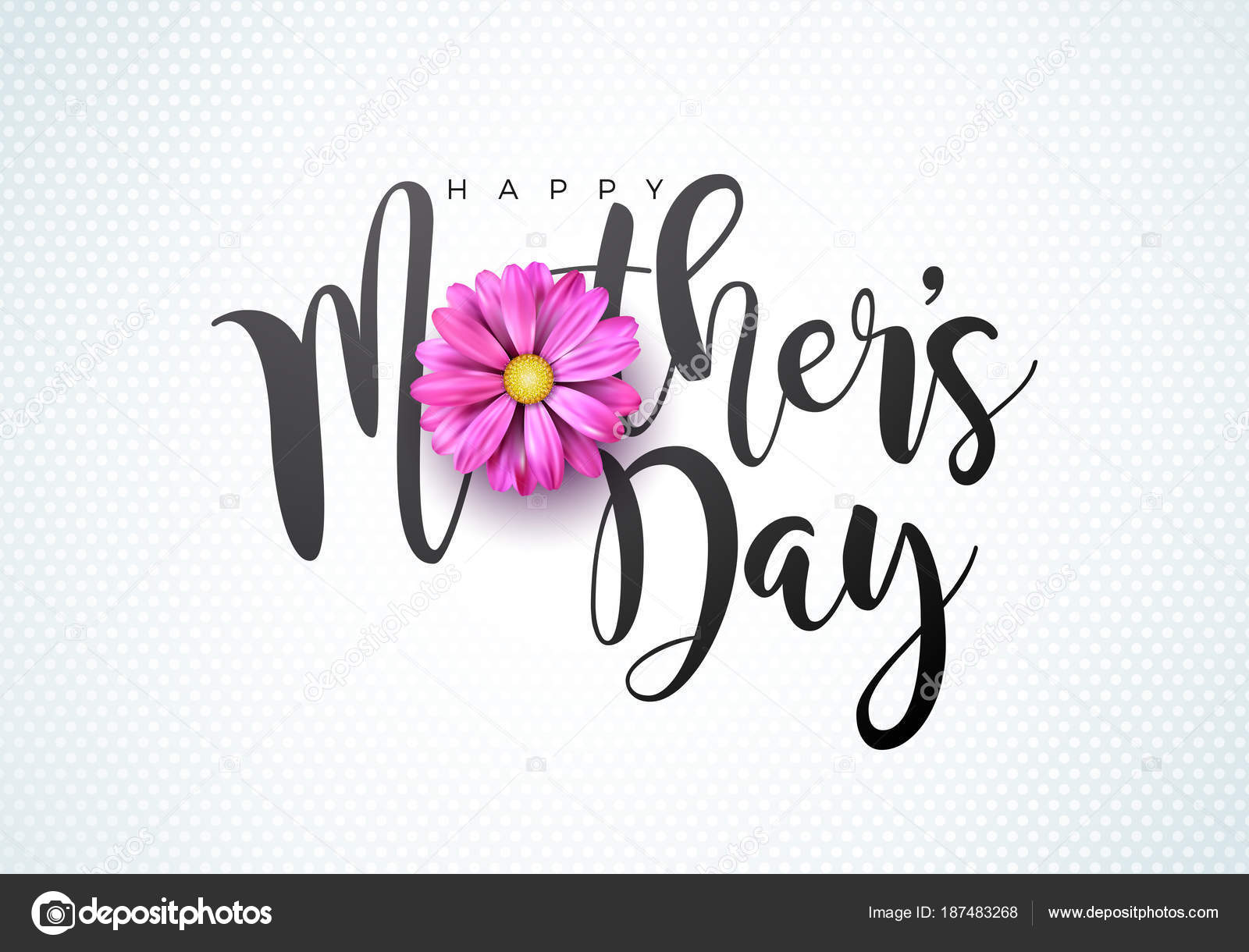 Happy Mothers Day Greeting card illustration with flower and ...
