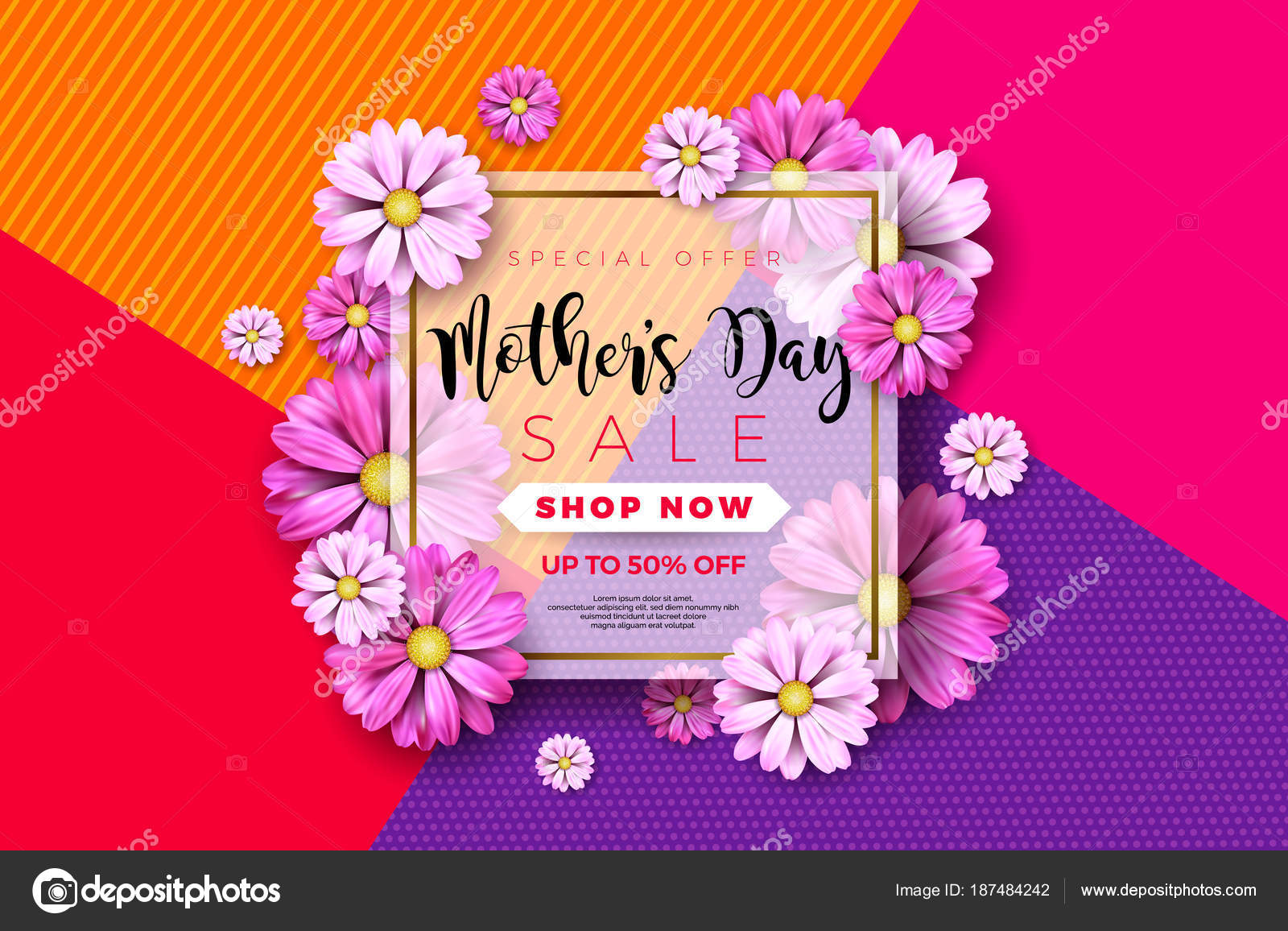Happy mothers day greeting card design with flower and typographic happy mothers day greeting card design with flower and typographic elements on abstract background vector m4hsunfo