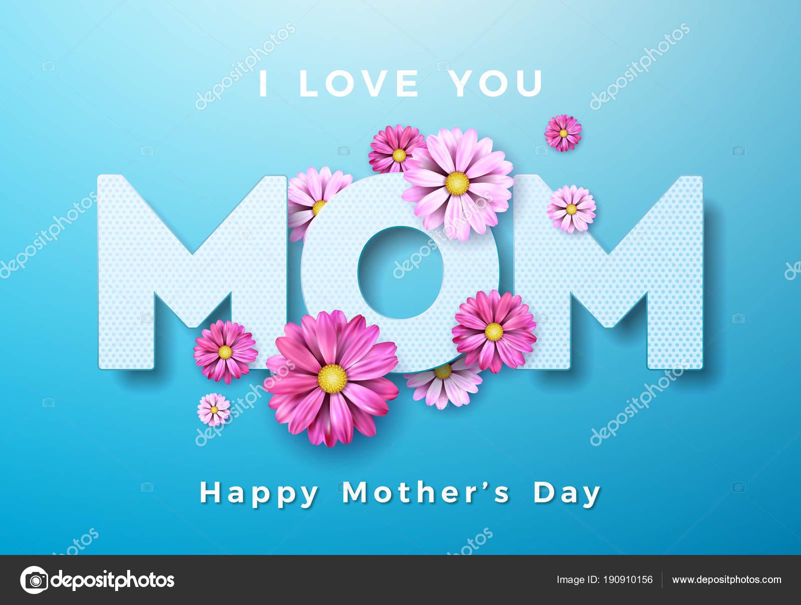 Happy mothers day wenskaart ontwerpelementen met bloem en i love u happy mothers day wenskaart ontwerpelementen met bloem en i love u mam typografische op blauwe achtergrond voltagebd Choice Image