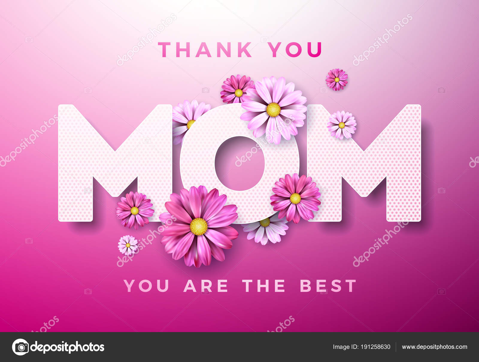 Happy Mothers Day Greeting Card Design With Flower And Thank You Mom