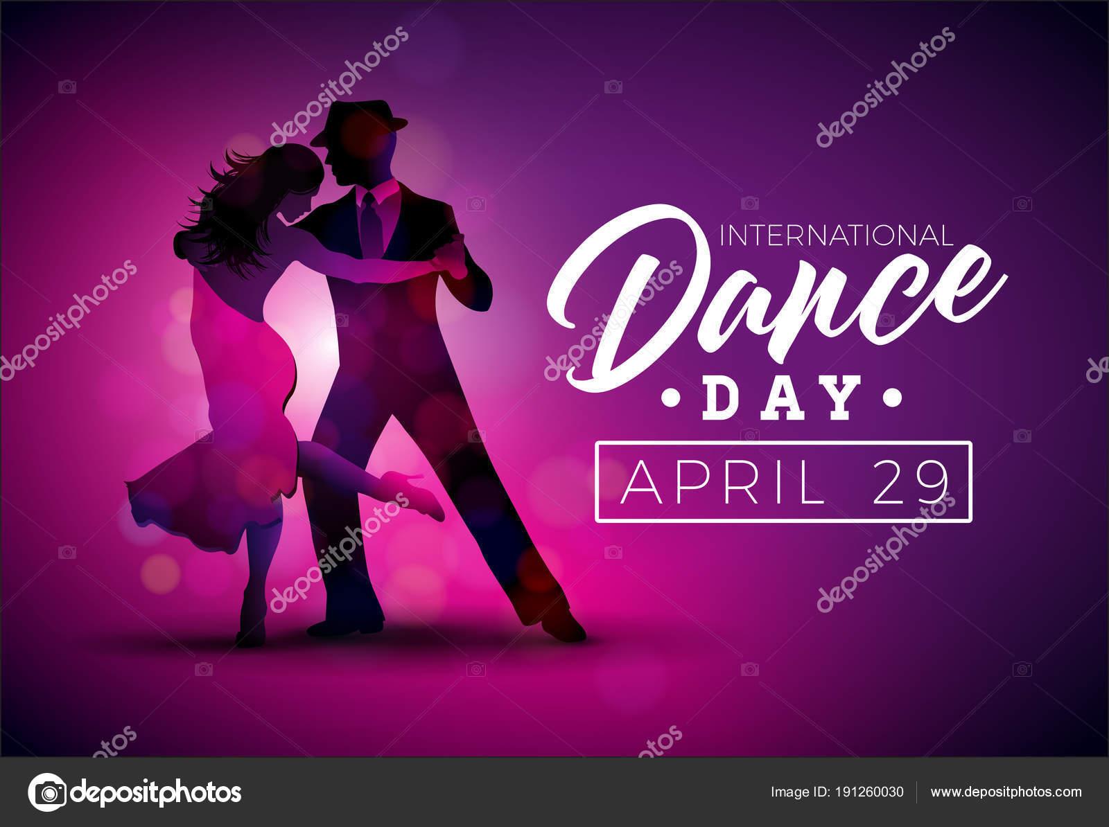International Dance Day Vektor-Illustration mit Tango-Tanzpaar auf ...