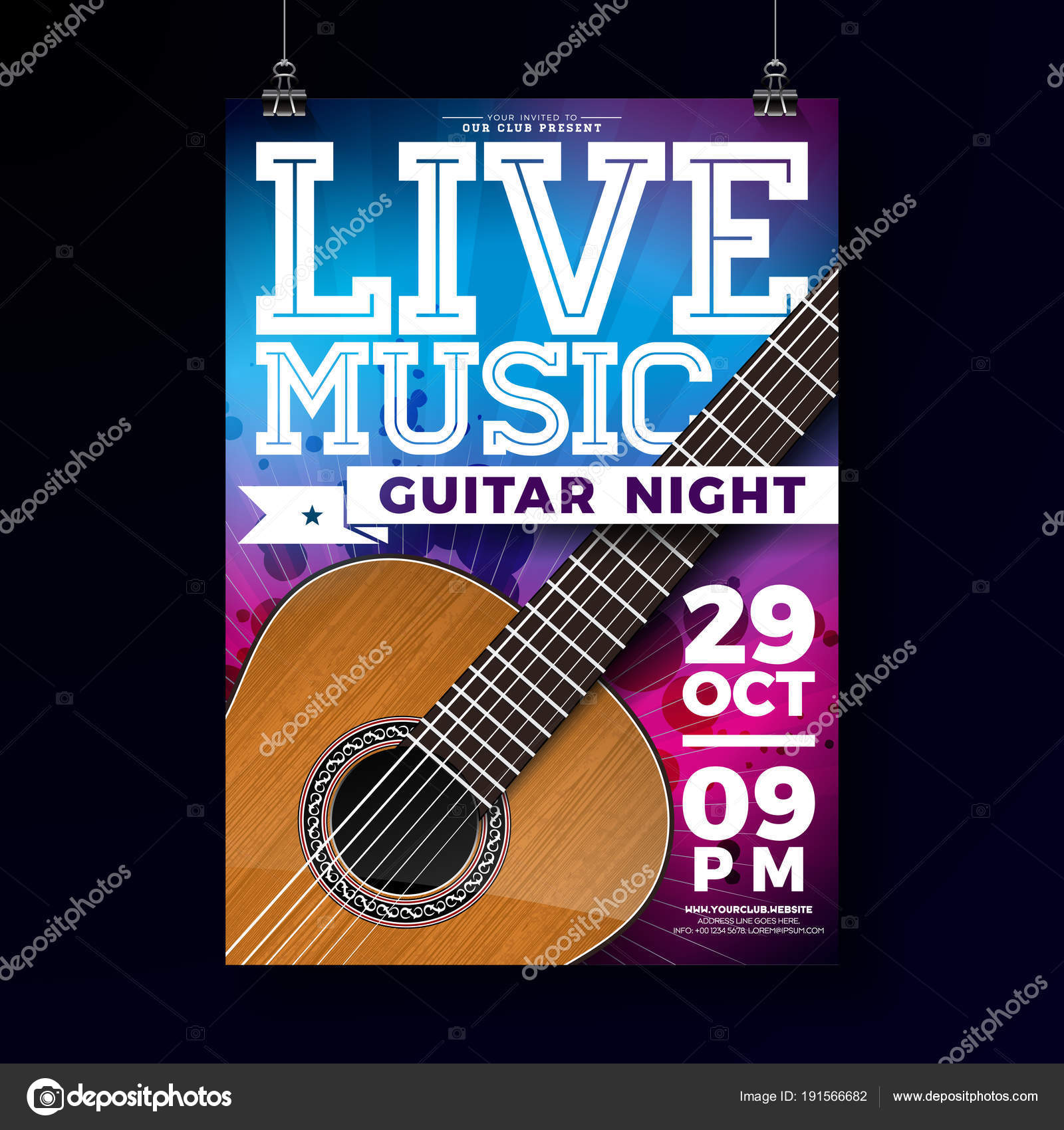 Diseño de flyer de música en vivo con guitarra acústica sobre fondo ...