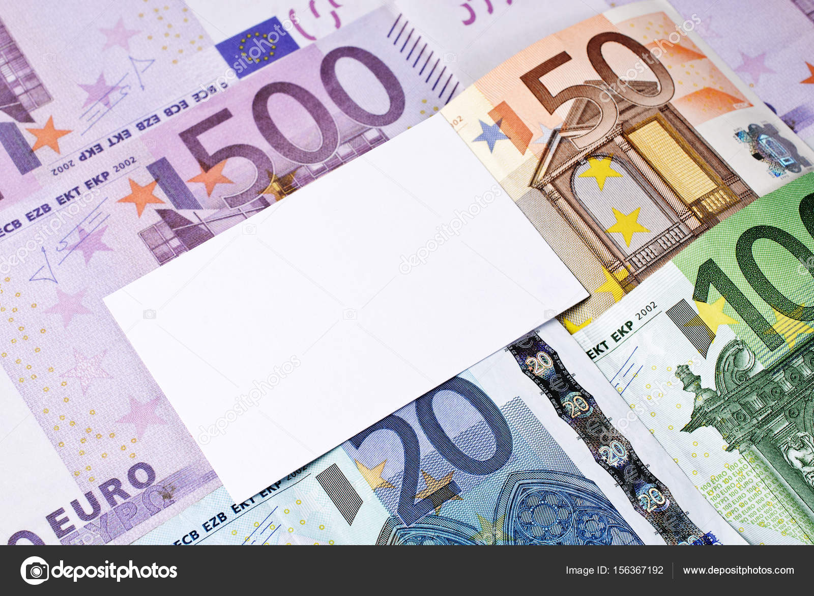 Euro bills and blank business card — Stock Photo © Lindameer #156367192