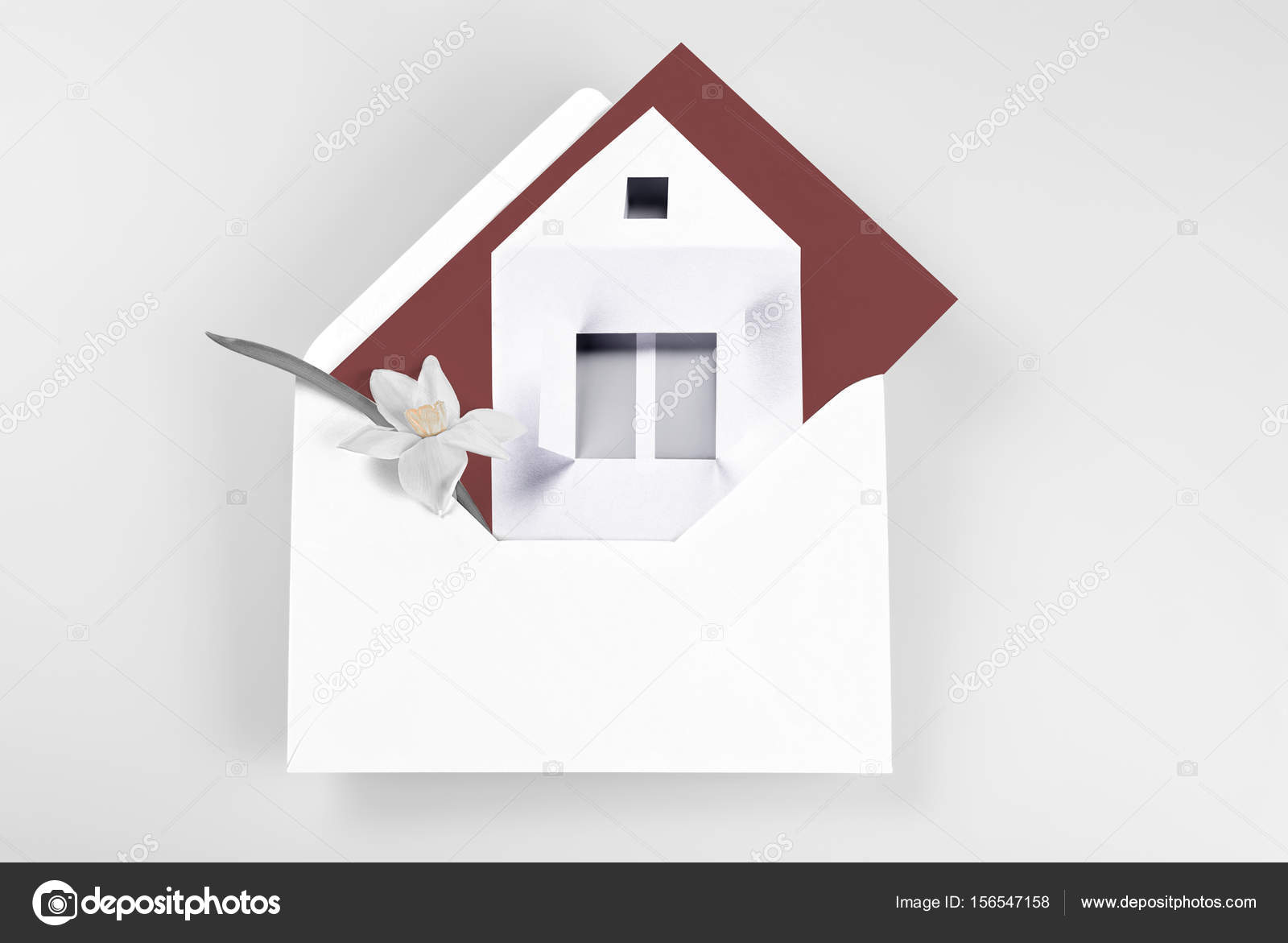 New Home Greeting Card With Flower And Envelope Stock Photo