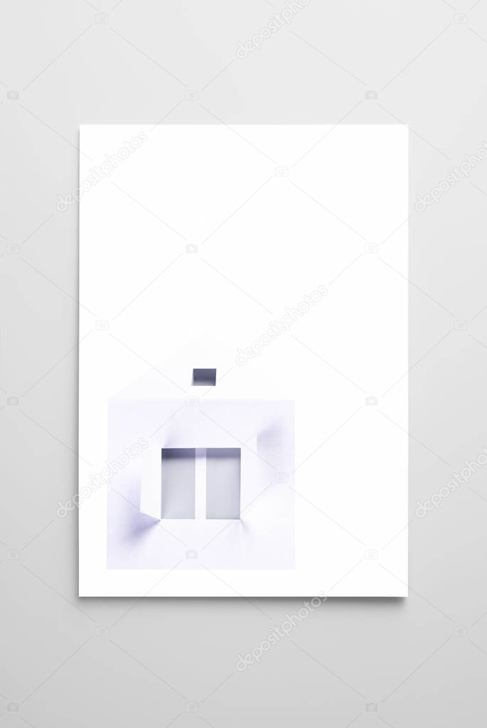 Blanc card with house. Copy space