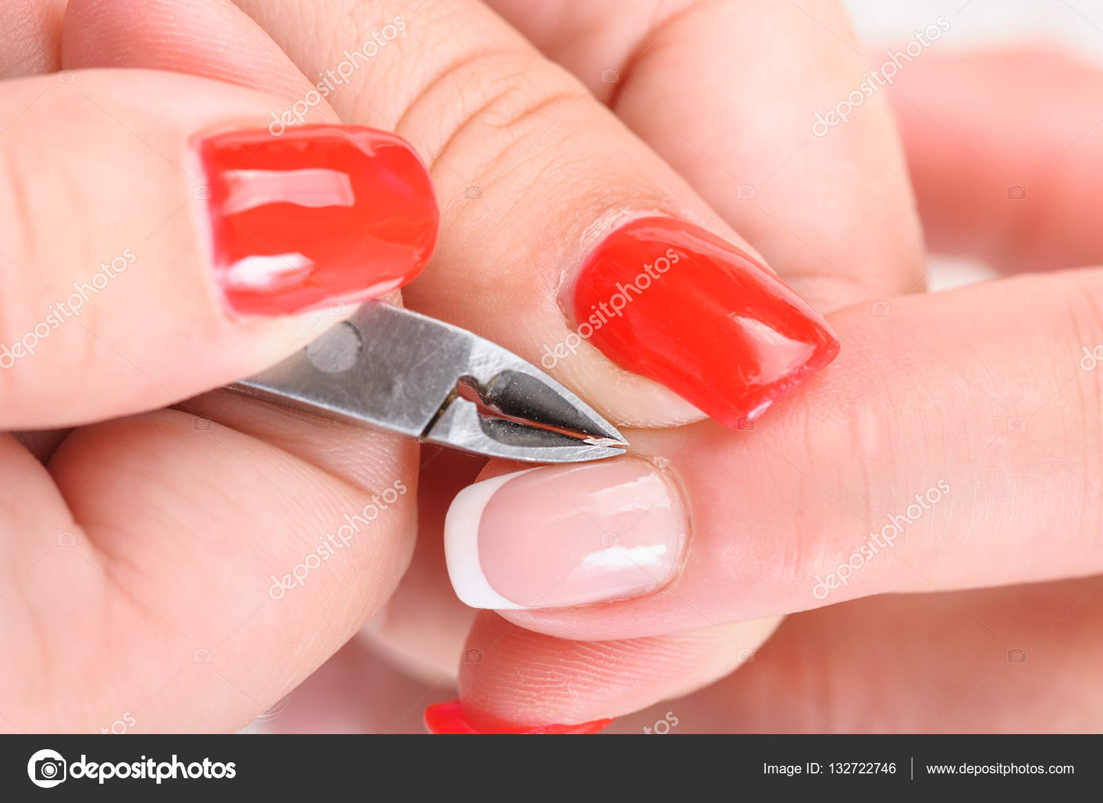Cuticles cutting with nail clippers — Stock Photo © starush #132722746